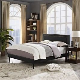 Jessamine King Vinyl Platform Bed with Round Tapered Legs in Black