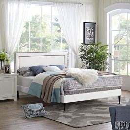Jessamine King Vinyl Platform Bed with Round Tapered Legs in White