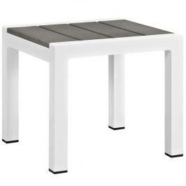 Shore Outdoor Patio Aluminum Side Table in White Gray