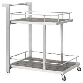 Shore Outdoor Patio Beverage Cart in Silver Gray