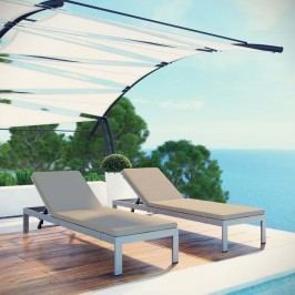 Shore Set of 2 Outdoor Patio Aluminum Chaise with Cushions in Silver Beige