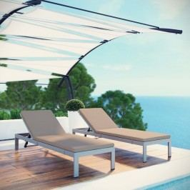 Shore Set of 2 Outdoor Patio Aluminum Chaise with Cushions in Silver Mocha