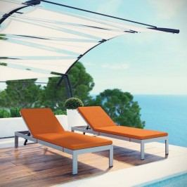 Shore Set of 2 Outdoor Patio Aluminum Chaise with Cushions in Silver Orange