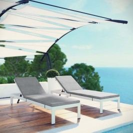 Shore Set of 2 Outdoor Patio Aluminum Chaise with Cushions in White Gray