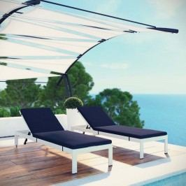 Shore Set of 2 Outdoor Patio Aluminum Chaise with Cushions in White Navy