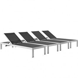 Shore Outdoor Patio Chaise Outdoor Patio Aluminum Set of 4 in Silver Black