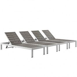Shore Outdoor Patio Chaise Outdoor Patio Aluminum Set of 4 in Silver Gray