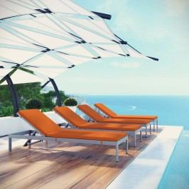 Shore Set of 4 Outdoor Patio Aluminum Chaise with Cushions in Silver Orange