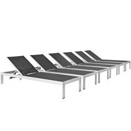 Shore Outdoor Patio Chaise Outdoor Patio Aluminum Set of 6 in Silver Black