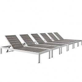 Shore Patio Chaise Outdoor Patio Aluminum Set of 6 in Silver Gray