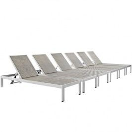 Shore Outdoor Patio Chaise Outdoor Patio Aluminum Set of 6 in Silver Gray