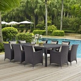 Convene 11 Piece Outdoor Patio Dining Set in Espresso Beige