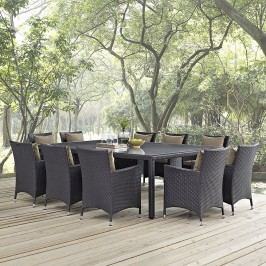 Convene 11 Piece Outdoor Patio Dining Set in Espresso Mocha