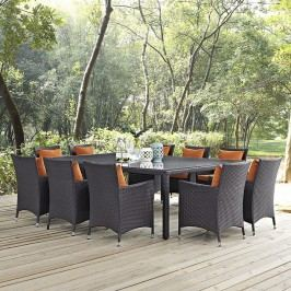 Convene 11 Piece Outdoor Patio Dining Set in Espresso Orange