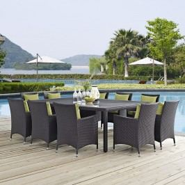 Convene 11 Piece Outdoor Patio Dining Set in Espresso Peridot