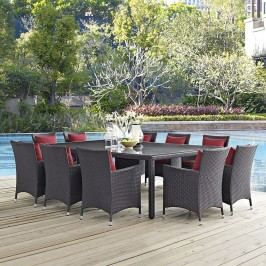 Convene 11 Piece Outdoor Patio Dining Set in Espresso Red