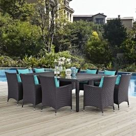 Convene 11 Piece Outdoor Patio Dining Set in Espresso Turquoise