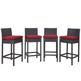 Convene 4 Piece Outdoor Patio Pub Set in Espresso red