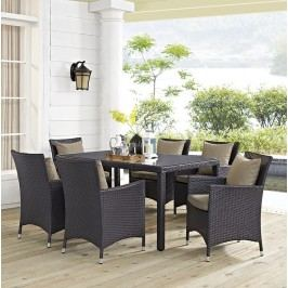 Convene 7 Piece Outdoor Patio Dining Set in Espresso Mocha