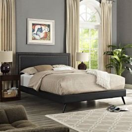 Jessamine Queen Vinyl Platform Bed with Round Splayed Legs in Black