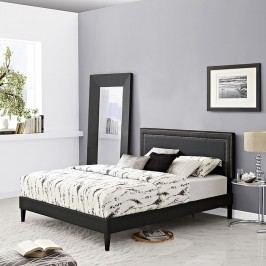 Jessamine  Queen Vinyl Platform Bed with Squared Tapered Legs in Black