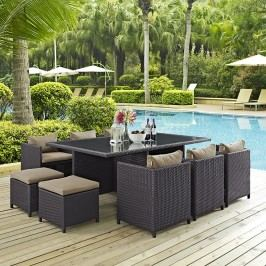 Reversal 11 Piece Outdoor Patio Dining Set in Espresso Mocha