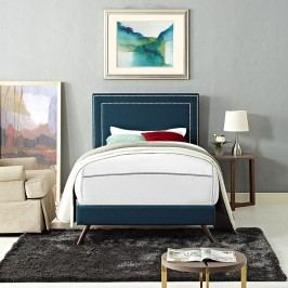 Jessamine  Twin Fabric Platform Bed with Round Splayed Legs in Azure