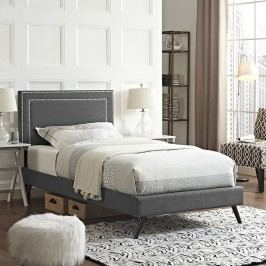 Jessamine  Twin Fabric Platform Bed with Round Splayed Legs in Gray