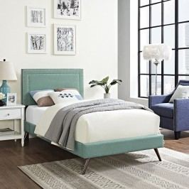 Jessamine  Twin Fabric Platform Bed with Round Splayed Legs in Laguna