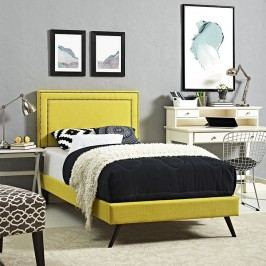 Jessamine  Twin Fabric Platform Bed with Round Splayed Legs in Sunny