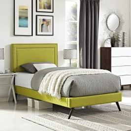 Jessamine  Twin Fabric Platform Bed with Round Splayed Legs in Wheatgrass