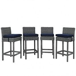 Summon Bar Stool Outdoor Patio Sunbrella?? Set of 4 in Canvas Navy