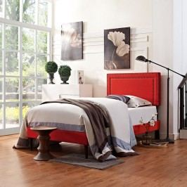 Jessamine  Twin Fabric Platform Bed with Round Tapered Legs in Atomic Red