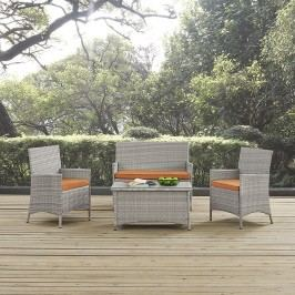 Bridge Outdoor Patio Patio Sectional Set in Light Gray Orange