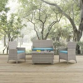 Bridge Outdoor Patio Patio Sectional Set in Light Gray Turquoise