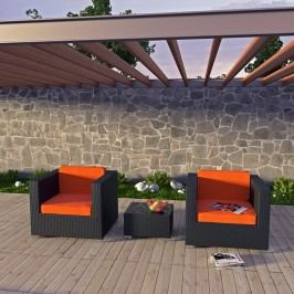 Burrow 3 Piece Outdoor Patio Sofa Set in Espresso Orange