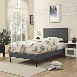 Jessamine  Twin Fabric Platform Bed with Round Tapered Legs in Gray