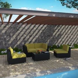 Camfora 5 Piece Outdoor Patio Sectional Set in Espresso Peridot