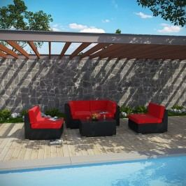 Camfora 5 Piece Outdoor Patio Sectional Set in Espresso Red