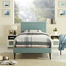 Jessamine  Twin Fabric Platform Bed with Round Tapered Legs in Laguna