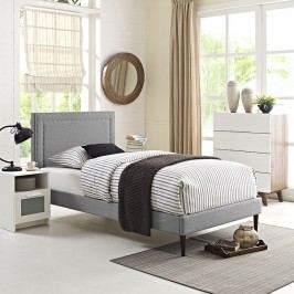 Jessamine  Twin Fabric Platform Bed with Round Tapered Legs in Light Gray