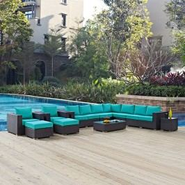 Convene 11 Piece Outdoor Patio Sectional Set in Espresso Turquoise