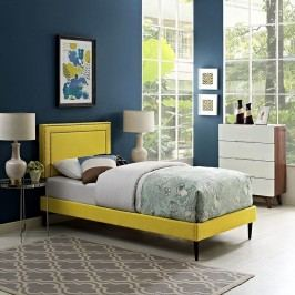 Jessamine  Twin Fabric Platform Bed with Round Tapered Legs in Sunny