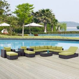 Convene 12 Piece Outdoor Patio Sectional Set in Espresso Peridot