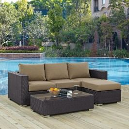 Convene 3 Piece Outdoor Patio Sofa Set in Espresso Mocha