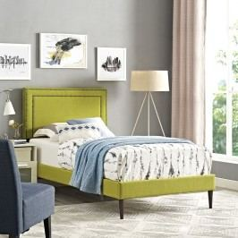 Jessamine  Twin Fabric Platform Bed with Round Tapered Legs in Wheatgrass