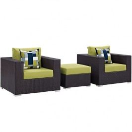 Convene 3 Piece Outdoor Patio Sofa Set in Espresso Peridot