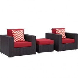 Convene 3 Piece Outdoor Patio Sofa Set in Espresso Red
