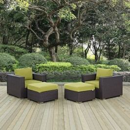 Convene 4 Piece Outdoor Patio Sectional Set in Espresso Peridot
