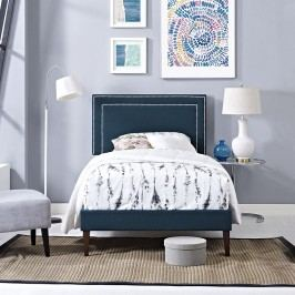 Jessamine  Twin Fabric Platform Bed with Squared Tapered Legs in Azure